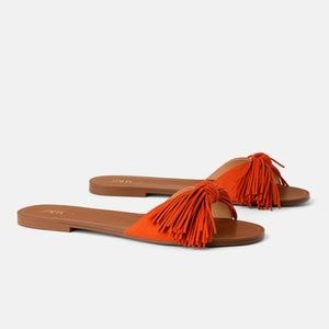 NWT ZARA Fringe Orange Sandal